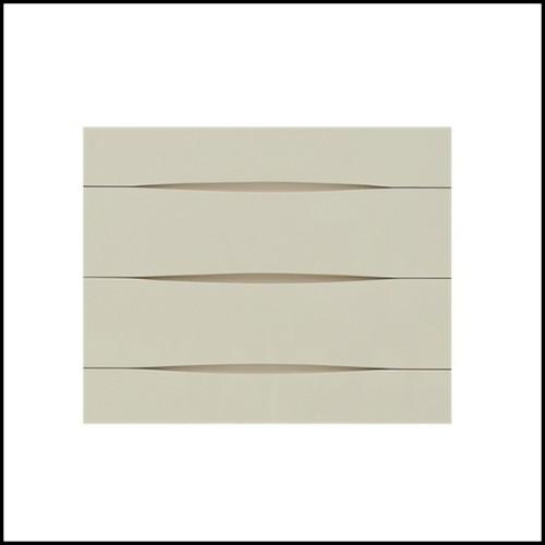 Table avec structure en bois de hêtre d'okoumé et de peuplier blanchi finition laqué blanc 173-Gold Ring