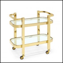 Trollet with metal structure in gold finish and with 2 clear glass tops 162-Christensen