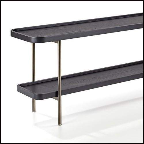 Desserte avec structure métallique finition or et 2 plateaux en verre transparent 162-Christensen