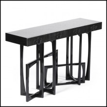 Console table with solid mahogany structure hand painted with black lacquered paint 145-Black Frame