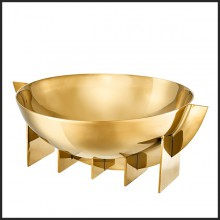 Bowl in polished stainless steel in gold finish 24-Bismarck