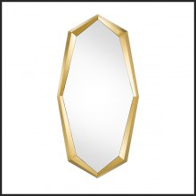 Mirror with frame in stainless steel gold finish and mirror glass 24-Mandel Octo