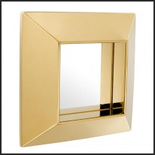 Mirror with frame in stainless steel with polished or Gold finish 24-Square Bevel