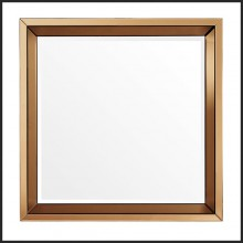 Mirror with frame in amber mirror glass and clear mirror glass 24-Square Amber