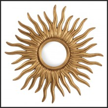 Mirror with frame in antique gold finish and convex mirror 24-Antique Sun