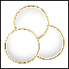 Mirror with frame in polished or gold finish stainless steel and bevelled mirror glass 24-Triple Circled