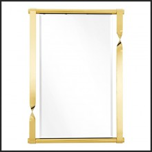 Mirror with frame in stainless steel Gold finish and and bevelled mirror glass 24-Byram