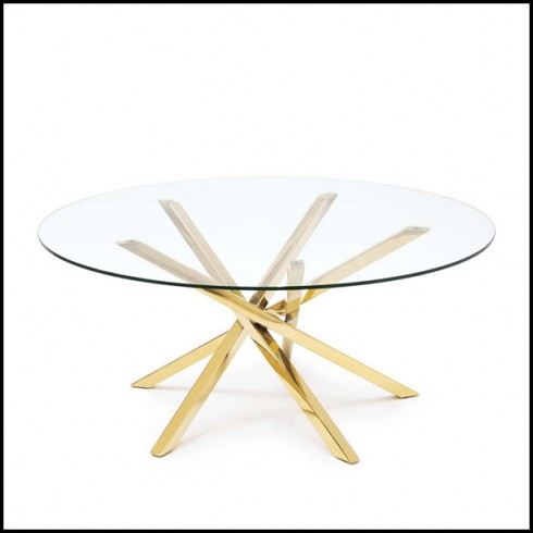 Gold Finish 162 Eclipse Pacific Compagnie, Gold Round Coffee Table