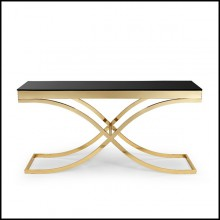 Console table with structure in metal gold finish and with tempered black glass top 162-Soft Cross