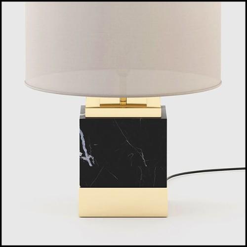 Console avec structure en métal finition or et plateau en verre noir trempé 162-Soft Cross