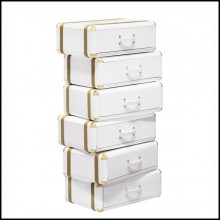 White Flight Case Shelf of 6 Drawers in White Lacquered Finish 177-White Flight Case of 6