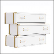 White Flight Case Shelf of 3 Drawers in White Lacquered Finish 177-White Flight Case of 3