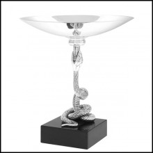Bowl in solid brass in antique silver plated finish on black granite base 24-Snake