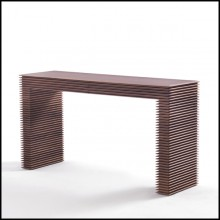 Console table with hand carved structure in varnished solid walnut wood 163-Lines