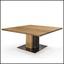 Dining Table in solid natural aromatic cedar wood and with raw steel 154-Cedar and Steel