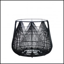 Side table in black finish with steel structure and polyethylene braided 178-Hanging Top