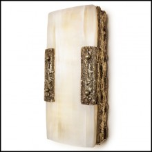Wall lamp in solid forged bronze and in solid selenite 179-Quantum