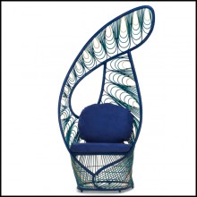 Chaise avec structure en rotin naturel finition bleu 178-Birdy