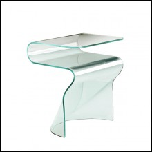 Side table casted in one slab of curved clear glass in 10 mm thickness 146-Wavy Glass