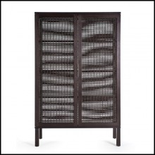Cabinet in brown finish made with solid walnut wood and solid maple wood 178-Beijing