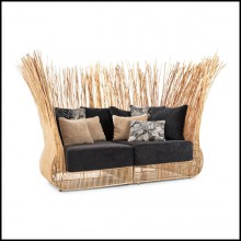 Sofa with structure in steel and natural rattan composed of 2 corner lounge chairs 178-Bundle double