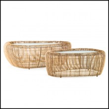 Coffee table made with steel structure and natural rattan 178-Bundle Lounge