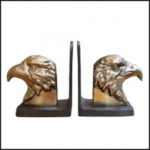 Set of 2 bookends made in gilt metal and blackened metal base 181-Eagles set 2