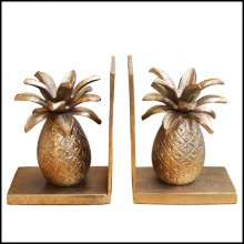 Set of 2 bookends made in gilt metal on blackened metal base 181-Pineapple set of 2