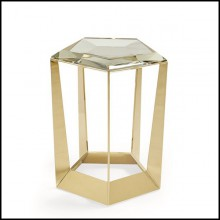 Table d'appoint avec structure en acier finition Gold 180-Diamony