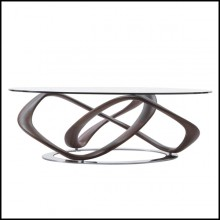 Coffee table with base in solid walnut wood on chrome-plated metal ground base 163-Limitless