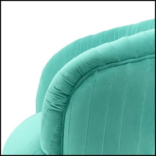 Chaise avec structure en bois teinté noirci et tissu velours jaune 176-Yellow Black