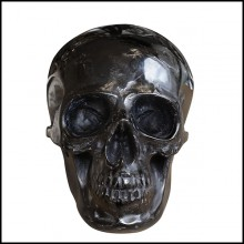 Sculpture in blackened glass paste PC-Black Skull