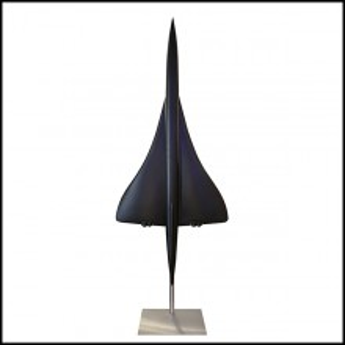 Sculpture maquette à l'échelle 1/36èm en résine noir mat de l'avion supersonic Concorde PC-Concorde Black