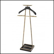 Dressboy in solid brass in vintage finish or nickel finish and black leather 24-Hotel 2