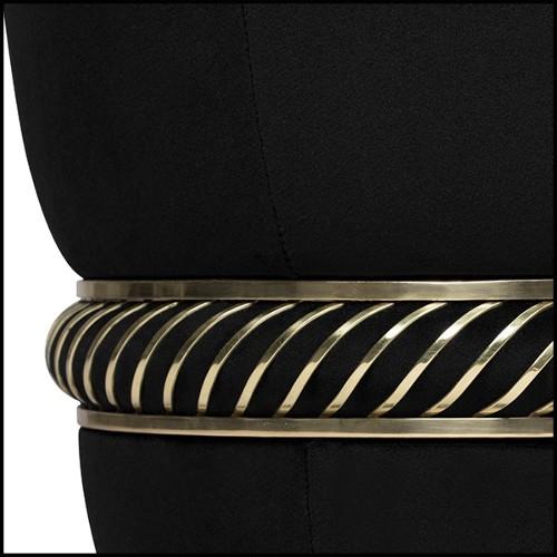 Fauteuil couvert avec tissu en velours et pieds en metal finition gold 162-Panther