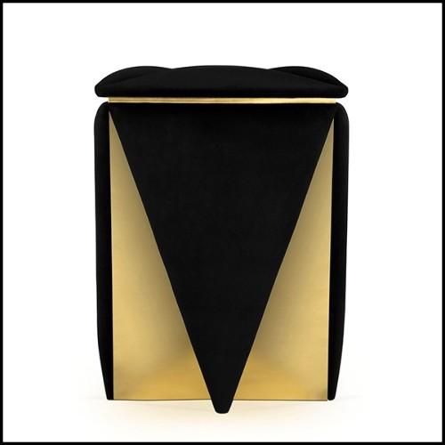 Table de repas en métal finition gold et avec plateau en verre fumé noir 162-Recta