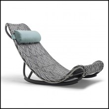 Lounger chair in hand-braided polyethylene in light grey and dark grey finish 178-Relax Lounger