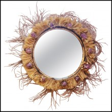 Mirror with frame in solid wood surrounded with pure amethyst stones PC-Amethyst