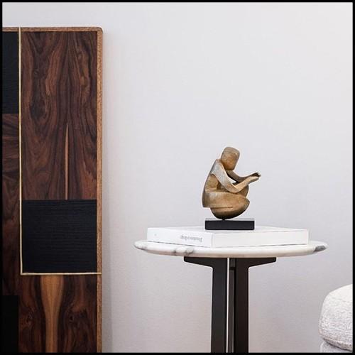 Console avec plateau en verre avec lignes colorées et base en titanium 146-Lines Glass Top