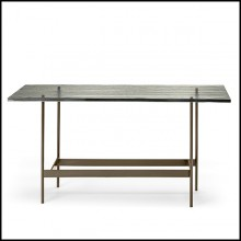 Console Table with colored striped glass top on titanium base 146-Lines Glass Top