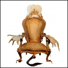 Armchair covered with piraruku skin and with reindeer antlers and girafle tail PC-Piraruku