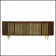 Sideboard in solid walnut wood in polished brass finish with white marble top 157-Radial