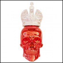 Sculpture made in marble dust resin chromed in red finish with hebrew crown PC-Skull Red Hebrew