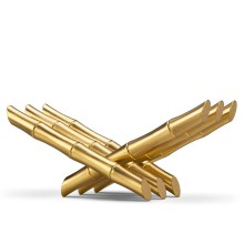 Bookrest bamboos in polished stainless steel, gold-plated, 172-24 karat