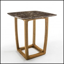 Table haute en teck et top en marbre 154-Trooper
