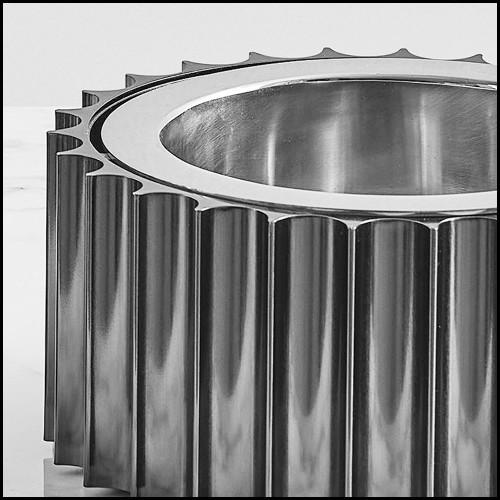Miroir avec 2 cadres concentrique en bois laqué noir et miroir covex 119 Serail