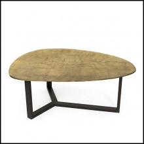 Table basse avec plateau en métal finition laiton antique ou finition argent antique avec base en métal noir 162-Oldies