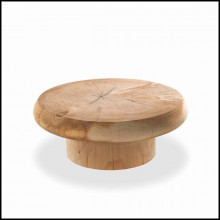 Coffee table round all hand-crafted in solid cedar 154-Solid Cedar Round