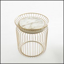 Table d'appoint finition gold et avec plateau en marbre blanc 150-Cigala