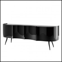 Sideboard in Solid Wood 146-Black Waves